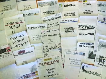 More than 220 of the state's newspapers participated in a program of printing blank front pages during the week of Aug. 13-18, in conjunction with the Minnesota Newspaper Association's 150 anniversary.