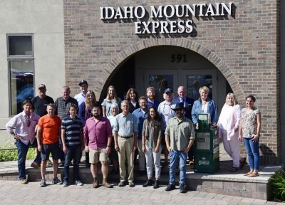 The entire staff of the Idaho Mountain Express gathers for a group photo. (Roland Lane)