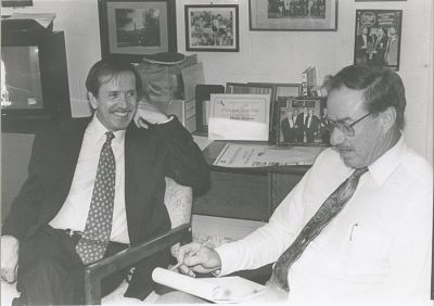 In this undated picture, then-Congressman Sonny Bono, left, is interviewed by Charles Freeman.